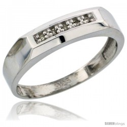 Sterling Silver Ladies' Diamond Wedding Band Rhodium finish, 3/16 in wide -Style Ag009lb