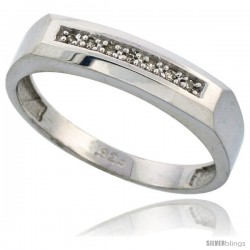 Sterling Silver Men's Diamond Wedding Band Rhodium finish, 3/16 in wide -Style Ag009mb