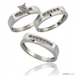 Sterling Silver Diamond Trio Wedding Ring Set His 5mm & Hers 4.5mm Rhodium finish -Style Ag009w3