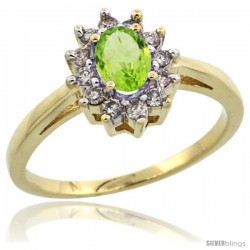 10k Yellow Gold Peridot Diamond Halo Ring Oval Shape 1.2 Carat 6X4 mm, 1/2 in wide