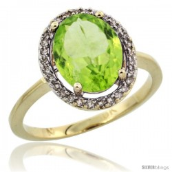 10k Yellow Gold Diamond Halo Peridot Ring 2.4 carat Oval shape 10X8 mm, 1/2 in (12.5mm) wide
