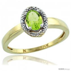 10k Yellow Gold Diamond Halo Peridot Ring 0.75 Carat Oval Shape 6X4 mm, 3/8 in (9mm) wide