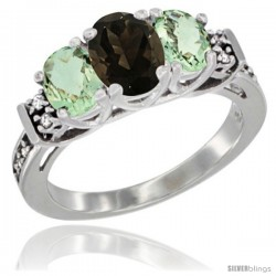 14K White Gold Natural Smoky Topaz & Green Amethyst Ring 3-Stone Oval with Diamond Accent