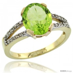 10k Yellow Gold and Diamond Halo Peridot Ring 2.4 carat Oval shape 10X8 mm, 3/8 in (10mm) wide