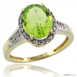 10k Yellow Gold Diamond Peridot Ring 2.4 ct Oval Stone 10x8 mm, 1/2 in wide