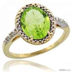 10k Yellow Gold Diamond Peridot Ring 2.4 ct Oval Stone 10x8 mm, 1/2 in wide -Style Cy911111