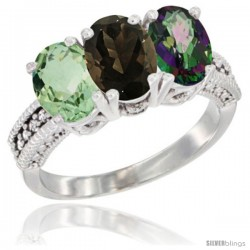 14K White Gold Natural Green Amethyst, Smoky Topaz & Mystic Topaz Ring 3-Stone 7x5 mm Oval Diamond Accent