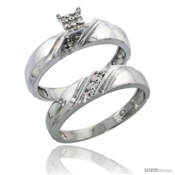 Sterling Silver Ladies' 2-Piece Diamond Engagement Wedding Ring Set Rhodium finish, 3/16 in wide -Style Ag010e2