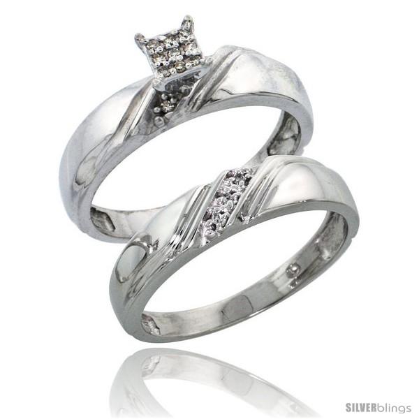 Sterling Silver Ladies 2 Piece Diamond Engagement Wedding Ring Set Rhodium Finish 3 16 In Wide