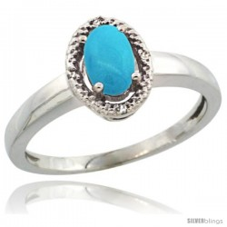 14k White Gold Diamond Halo Sleeping Beauty Turquoise Ring 0.75 Carat Oval Shape 6X4 mm, 3/8 in (9mm) wide