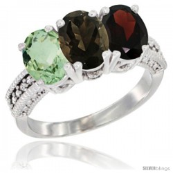 14K White Gold Natural Green Amethyst, Smoky Topaz & Garnet Ring 3-Stone 7x5 mm Oval Diamond Accent