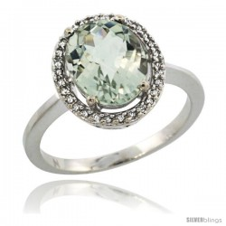 Sterling Silver Diamond Halo Natural Green Amethyst Ring 2.4 carat Oval shape 10X8 mm, 1/2 in (12.5mm) wide