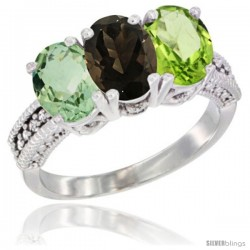14K White Gold Natural Green Amethyst, Smoky Topaz & Peridot Ring 3-Stone 7x5 mm Oval Diamond Accent