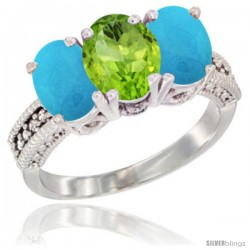 14K White Gold Natural Peridot & Turquoise Sides Ring 3-Stone 7x5 mm Oval Diamond Accent