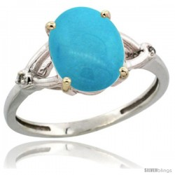 14k White Gold Diamond Sleeping Beauty Turquoise Ring 2.4 ct Oval Stone 10x8 mm, 3/8 in wide