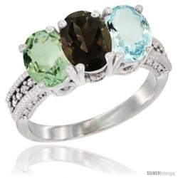 14K White Gold Natural Green Amethyst, Smoky Topaz & Aquamarine Ring 3-Stone 7x5 mm Oval Diamond Accent