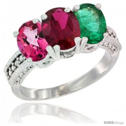 14K White Gold Natural Pink Topaz, Ruby & Emerald Ring 3-Stone 7x5 mm Oval Diamond Accent