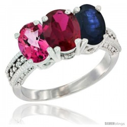 14K White Gold Natural Pink Topaz, Ruby & Blue Sapphire Ring 3-Stone 7x5 mm Oval Diamond Accent