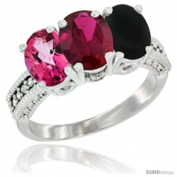 14K White Gold Natural Pink Topaz, Ruby & Black Onyx Ring 3-Stone 7x5 mm Oval Diamond Accent