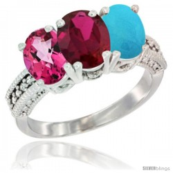 14K White Gold Natural Pink Topaz, Ruby & Turquoise Ring 3-Stone 7x5 mm Oval Diamond Accent