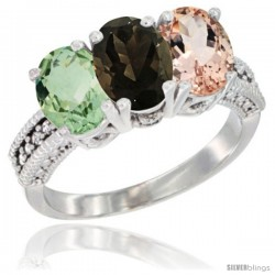 14K White Gold Natural Green Amethyst, Smoky Topaz & Morganite Ring 3-Stone 7x5 mm Oval Diamond Accent