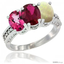 14K White Gold Natural Pink Topaz, Ruby & Opal Ring 3-Stone 7x5 mm Oval Diamond Accent