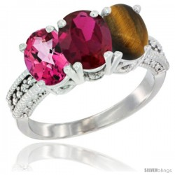 14K White Gold Natural Pink Topaz, Ruby & Tiger Eye Ring 3-Stone 7x5 mm Oval Diamond Accent