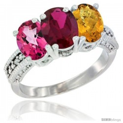 14K White Gold Natural Pink Topaz, Ruby & Whisky Quartz Ring 3-Stone 7x5 mm Oval Diamond Accent