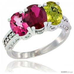 14K White Gold Natural Pink Topaz, Ruby & Lemon Quartz Ring 3-Stone 7x5 mm Oval Diamond Accent