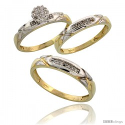 10k Yellow Gold Diamond Trio Engagement Wedding Ring 3-piece Set for Him & Her 4 mm & 3.5 mm wide 0.13 cttw -Style Ljy003w3