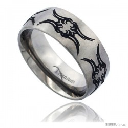 Titanium 8mm Dome Wedding Band Ring Black Laser Etched Tribal Fly Pattern Matte Finish Comfort-fit