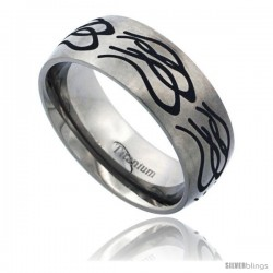 Titanium 8mm Dome Wedding Band Ring Black Laser Etched Tribal Pattern Matte Finish Comfort-fit
