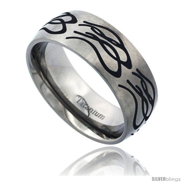 https://www.silverblings.com/54010-thickbox_default/titanium-8mm-dome-wedding-band-ring-black-laser-etched-tribal-pattern-matte-finish-comfort-fit.jpg
