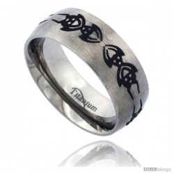 Titanium 8mm Dome Wedding Band Ring Black Laser Etched Tribal Spider Pattern Matte Finish Comfort-fit