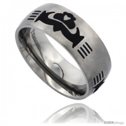 Titanium 8mm Dome Wedding Band Ring Black Laser Etched Tribal Celtic Claddagh Pattern Matte Finish Comfort-fit