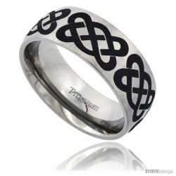 Titanium 8mm Dome Wedding Band Ring Short Celtic Knots Pattern Matte Finish Comfort-fit