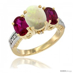14K Yellow Gold Ladies 3-Stone Oval Natural Opal Ring with Ruby Sides Diamond Accent