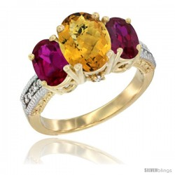 14K Yellow Gold Ladies 3-Stone Oval Natural Whisky Quartz Ring with Ruby Sides Diamond Accent