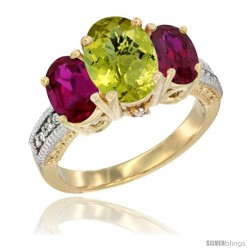 14K Yellow Gold Ladies 3-Stone Oval Natural Lemon Quartz Ring with Ruby Sides Diamond Accent