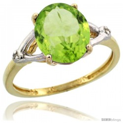 10k Yellow Gold Diamond Peridot Ring 2.4 ct Oval Stone 10x8 mm, 3/8 in wide
