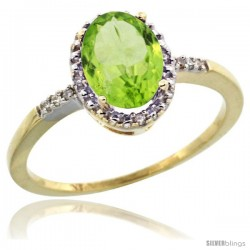10k Yellow Gold Diamond Peridot Ring 1.17 ct Oval Stone 8x6 mm, 3/8 in wide