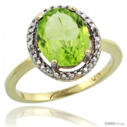 10k Yellow Gold Diamond Peridot Ring 2.4 ct Oval Stone 10x8 mm, 1/2 in wide -Style Cy911114
