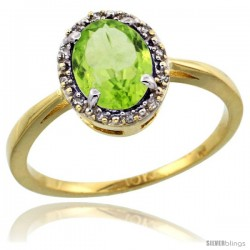 10k Yellow Gold Diamond Halo Peridot Ring 1.2 ct Oval Stone 8x6 mm, 1/2 in wide