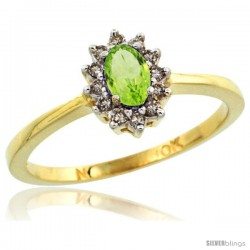 10k Yellow Gold Diamond Halo Peridot Ring 0.25 ct Oval Stone 5x3 mm, 5/16 in wide