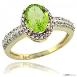 10k Yellow Gold Diamond Halo Peridot Ring 1.2 ct Oval Stone 8x6 mm, 3/8 in wide