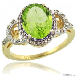 10k Yellow Gold Diamond Halo Peridot Ring 2.4 ct Oval Stone 10x8 mm, 1/2 in wide