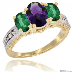 14k Yellow Gold Ladies Oval Natural Amethyst 3-Stone Ring with Emerald Sides Diamond Accent