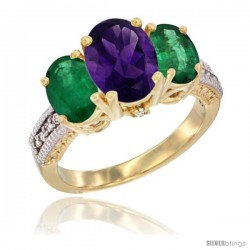 14K Yellow Gold Ladies 3-Stone Oval Natural Amethyst Ring with Emerald Sides Diamond Accent