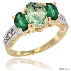 14k Yellow Gold Ladies Oval Natural Green Amethyst 3-Stone Ring with Emerald Sides Diamond Accent