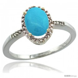 14k White Gold Diamond Sleeping Beauty Turquoise Ring 1.17 ct Oval Stone 8x6 mm, 3/8 in wide